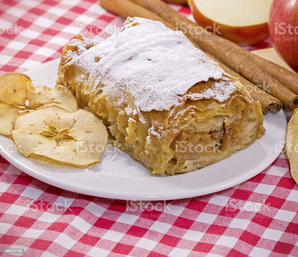 Apple strudel - apple cake closeup stock photo