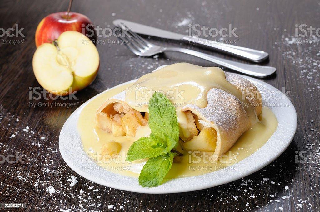 Apple strudel stock photo