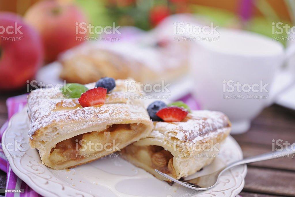 Apple strudel with vanilla sauce stock photo