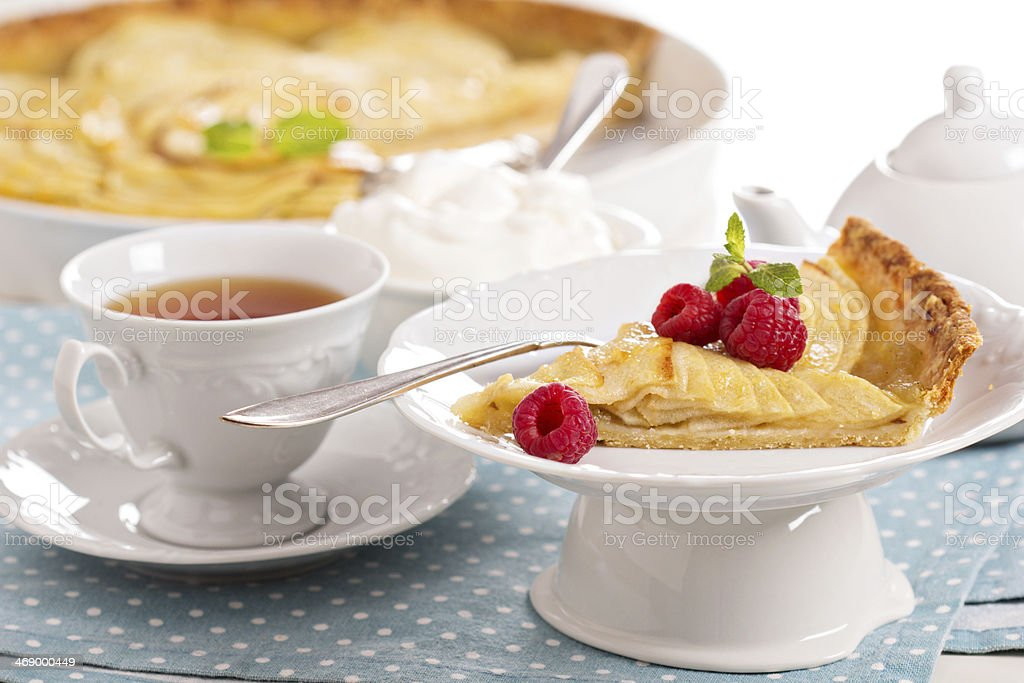 Apple tart with applesauce stock photo