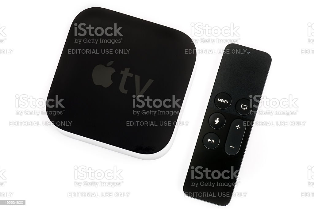 Apple TV 4th Generation and Siri Remote stock photo