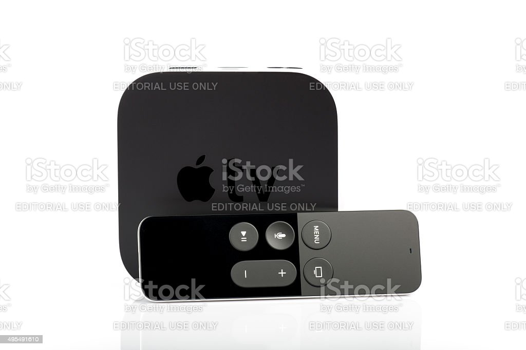 Apple TV and Siri Remote stock photo