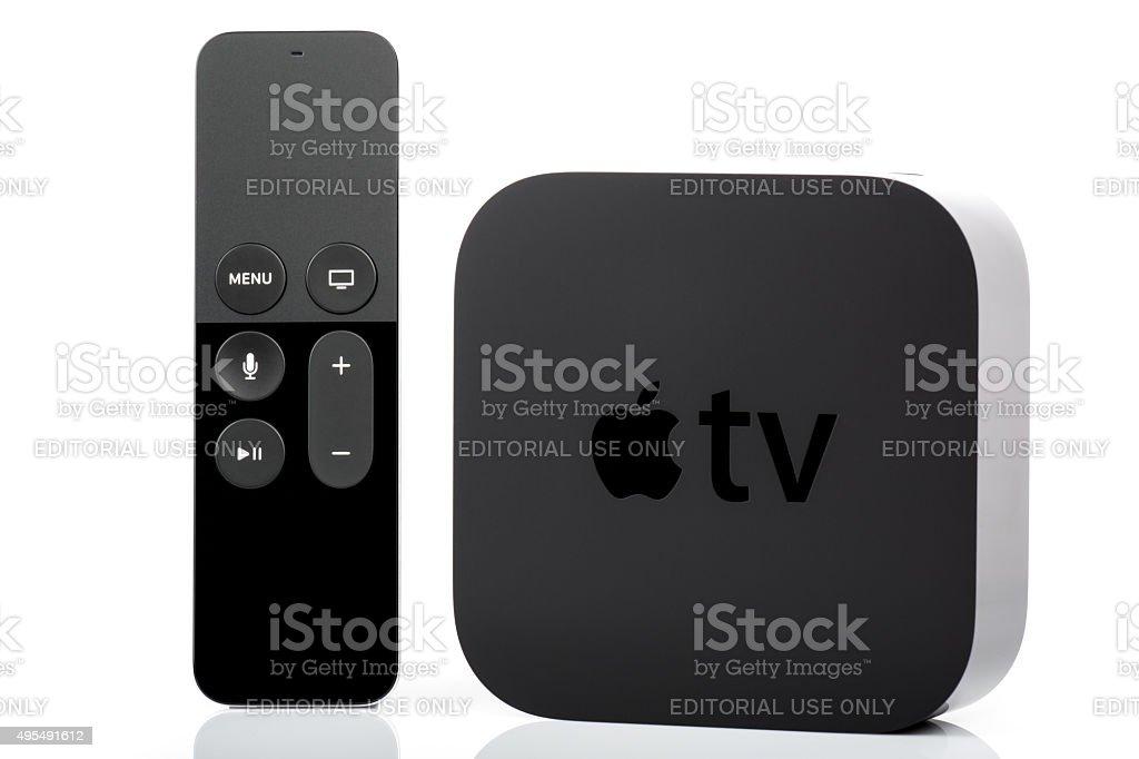 Apple TV and Siri Remote stock photo