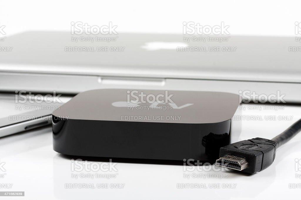Apple TV with iPad and macbook stock photo