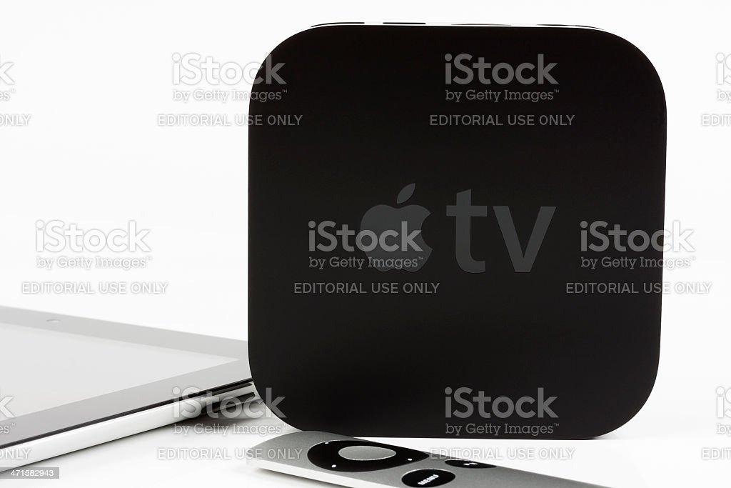 Apple TV with iPad stock photo