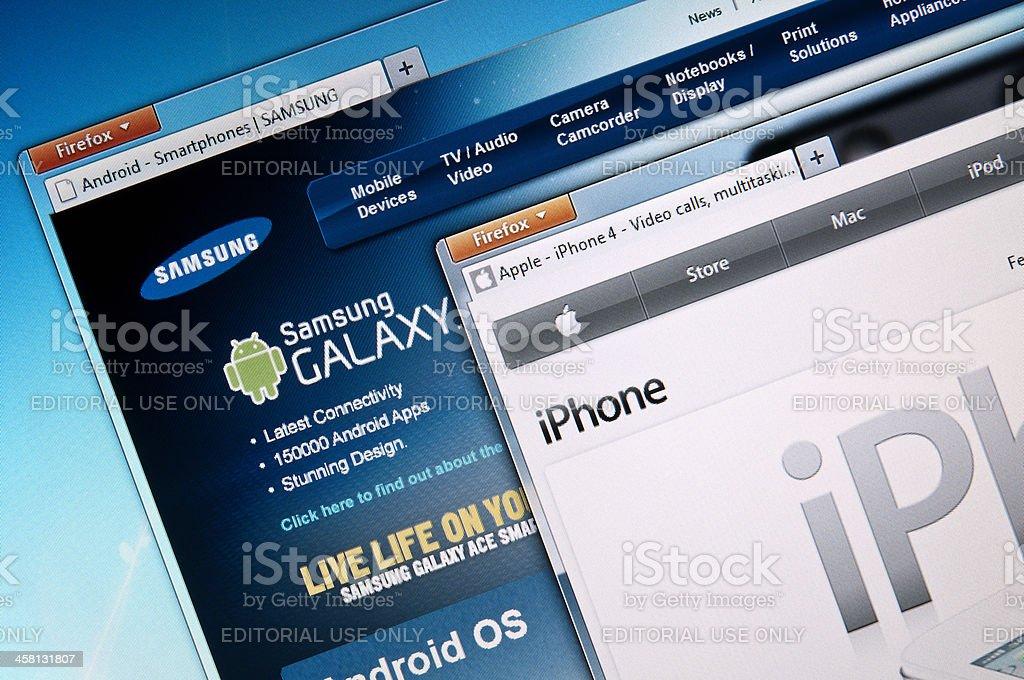 Apple v Samsung royalty-free stock photo