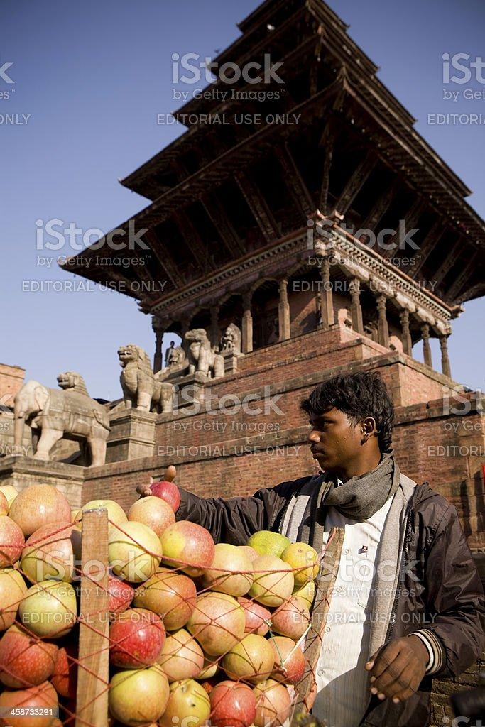 Apple Vendor Bhaktapur Nepal stock photo