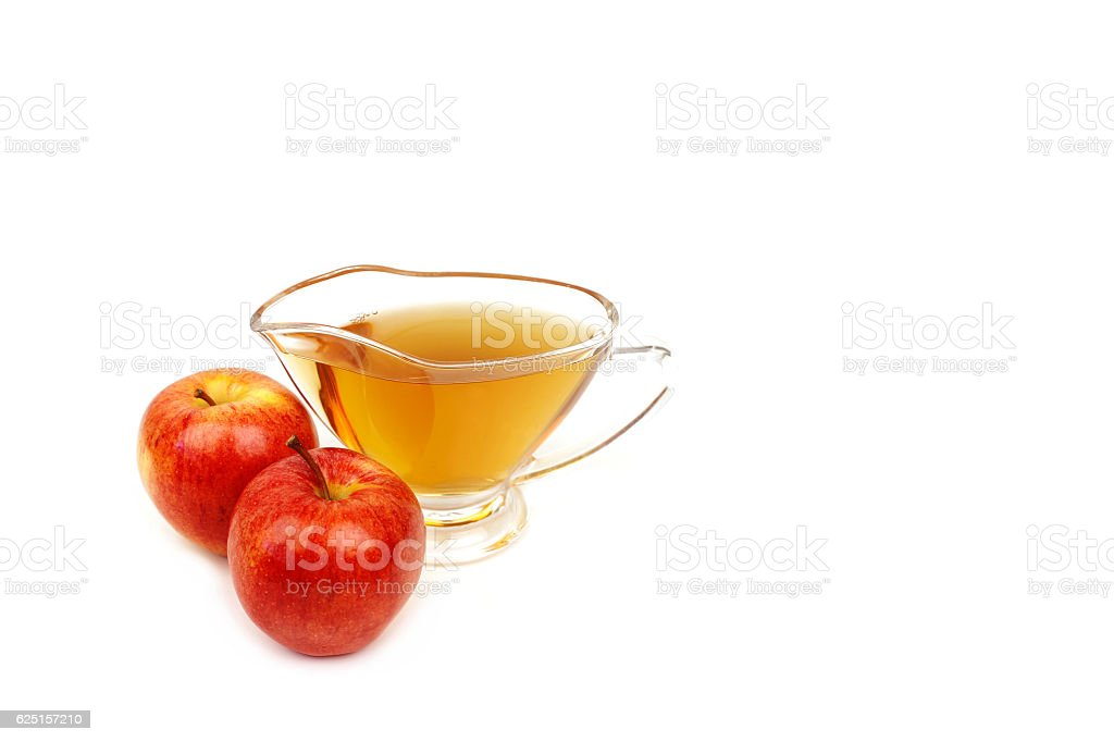Apple vinegar isolated on white background stock photo