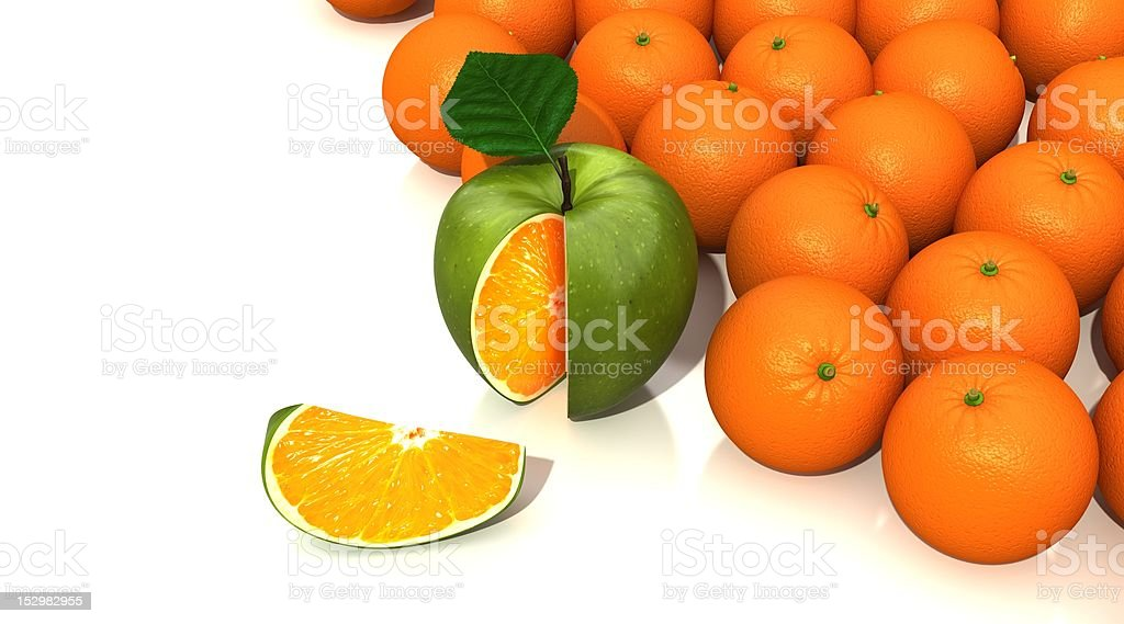apple vs orange royalty-free stock photo