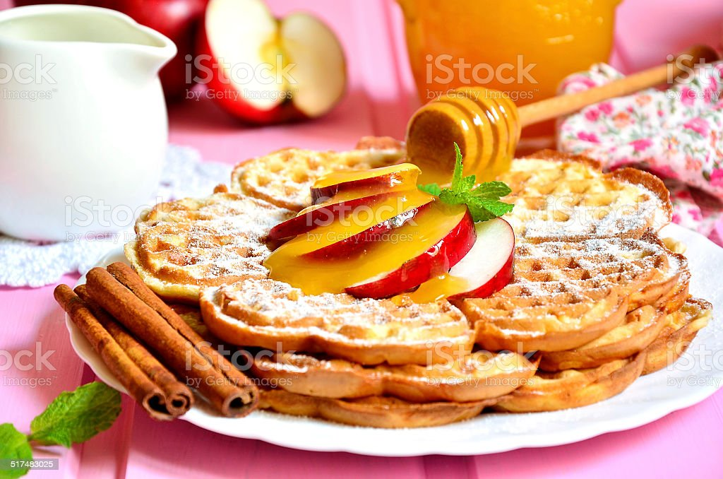 Apple waffles. stock photo