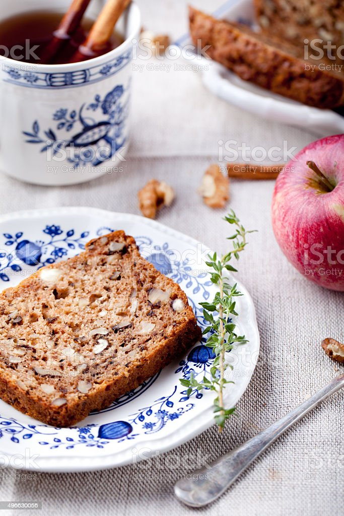 Apple, walnut cake, loaf, bread with fresh apples stock photo