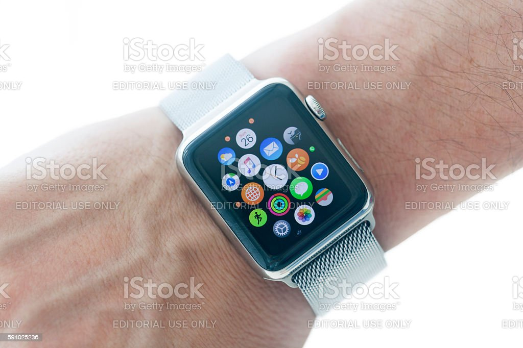 Apple Watch 42mm Stainless Silver band stock photo
