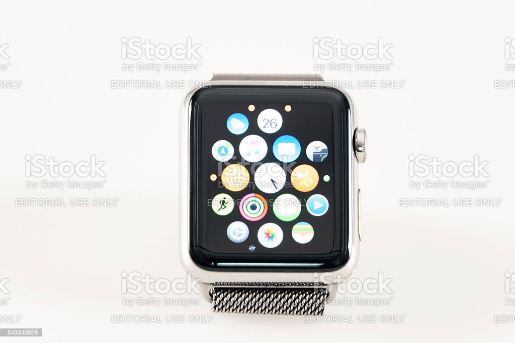 Apple Watch 42mm Stainless Silver White band stock photo