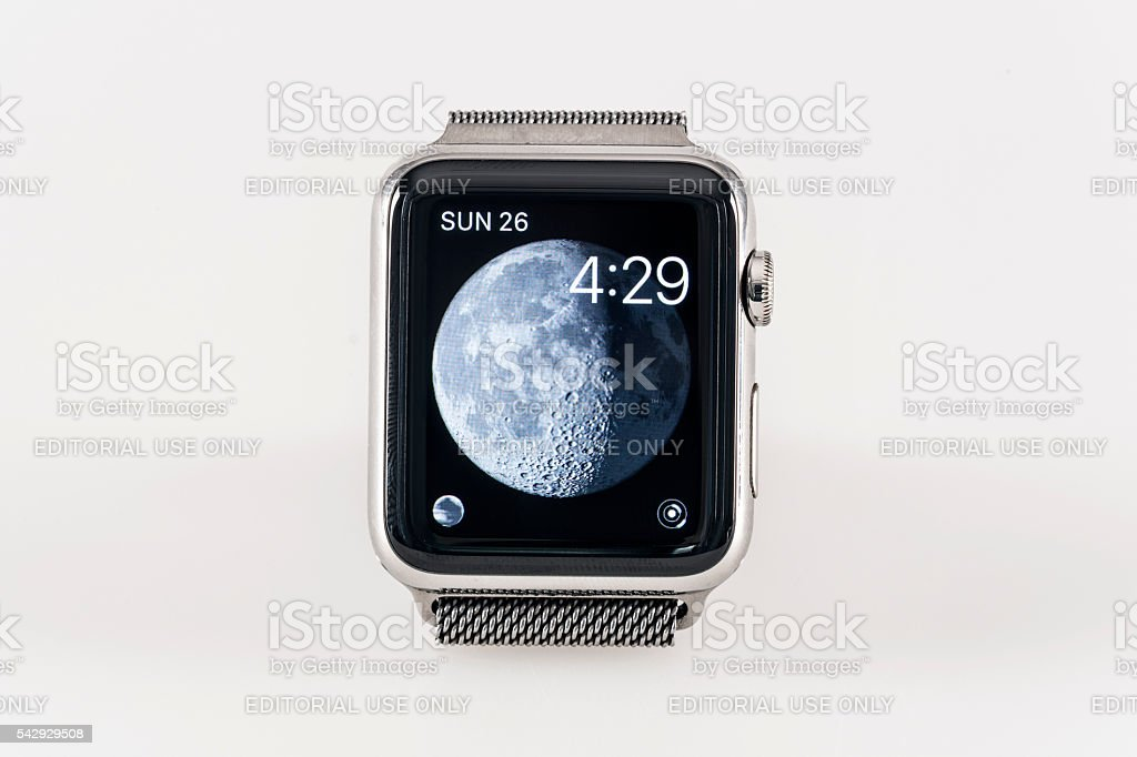Apple Watch 42mm Stainless Silver White Sport band stock photo