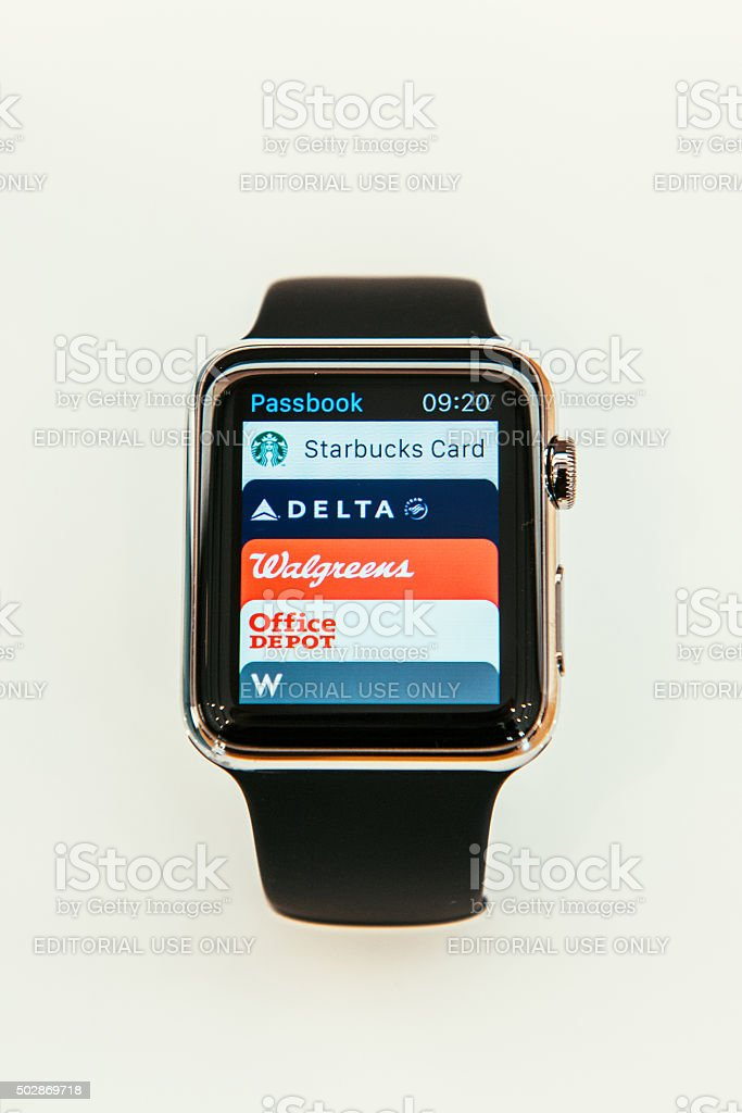 Apple Watch and passbook apps stock photo