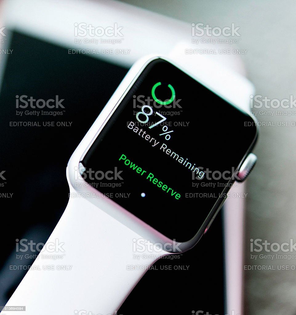 Apple watch showing battery power stock photo