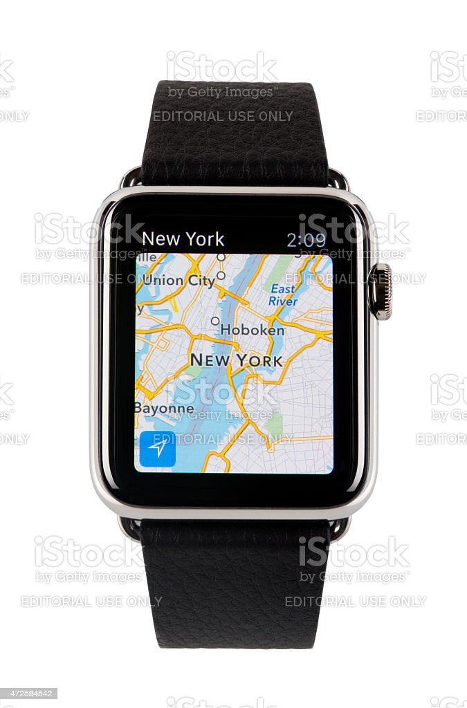 Apple Watch Showing The New York Map stock photo