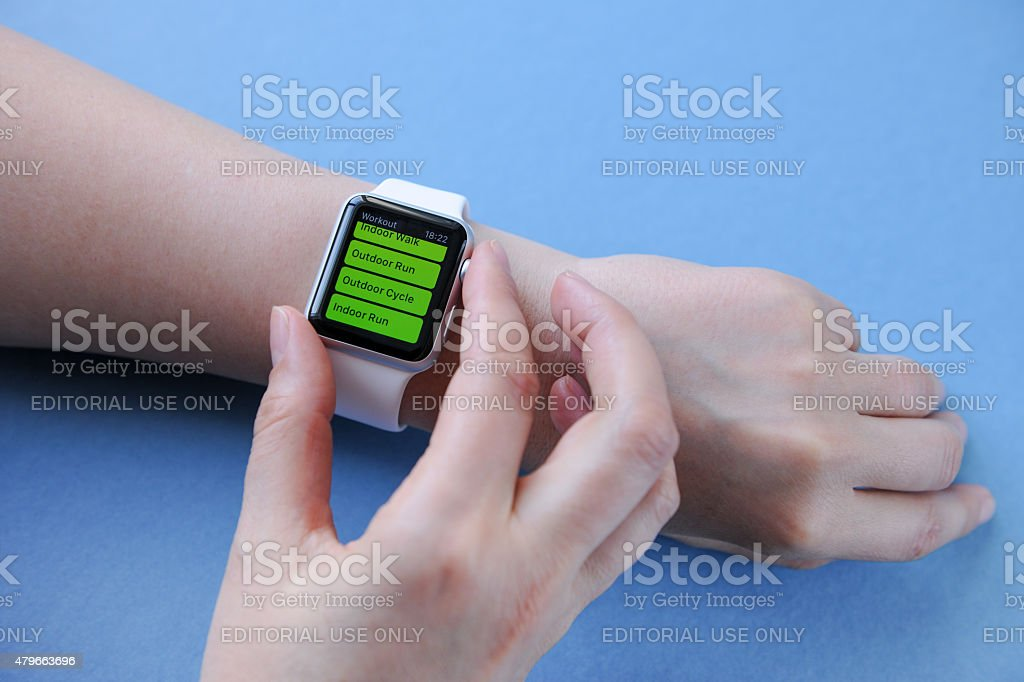 Apple Watch Sport 42mm model showing the Workout application. This...