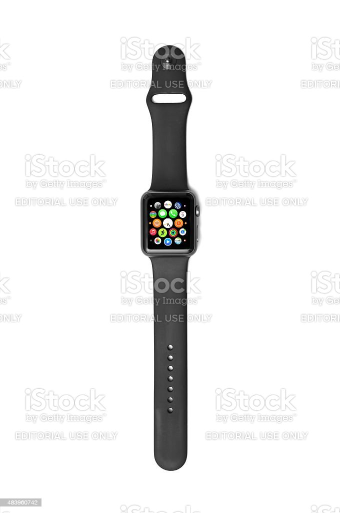 Apple Watch with App Launcher and icons stock photo