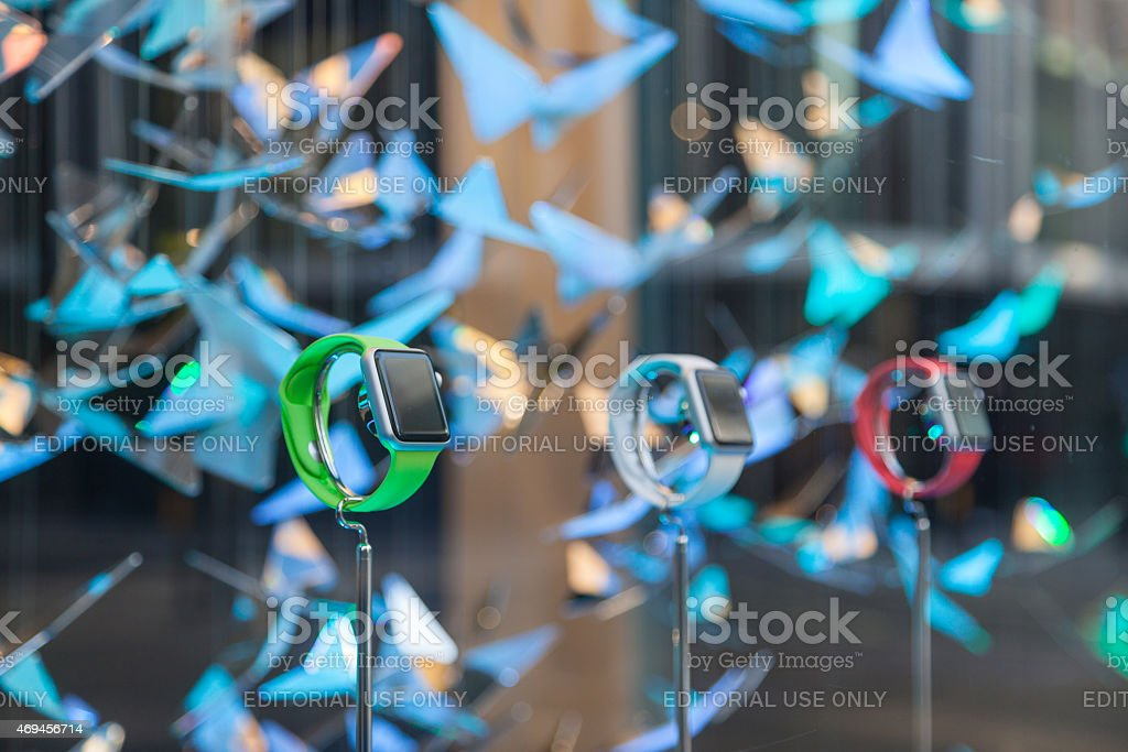 Apple Watches in new Apple Watch store in London stock photo