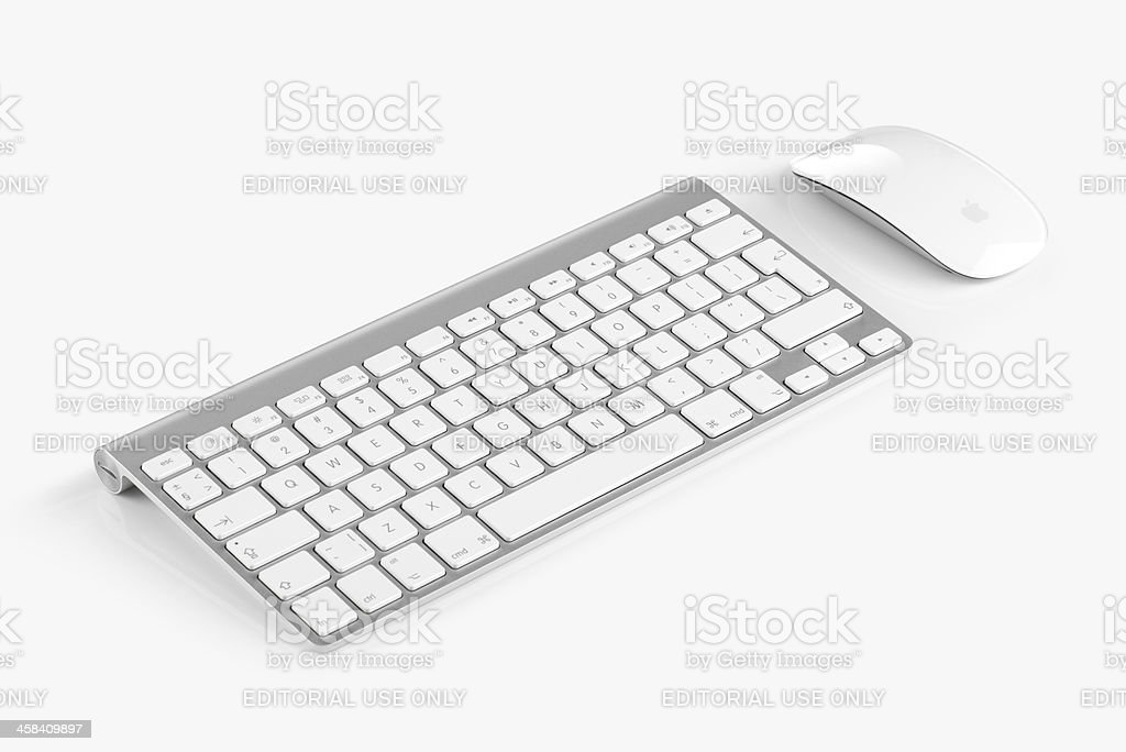 Apple Wireless Keyboard and Magic Mouse stock photo
