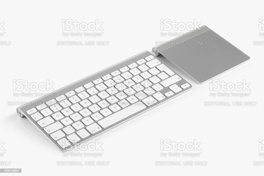 Apple Wireless Keyboard and Magic Trackpad stock photo