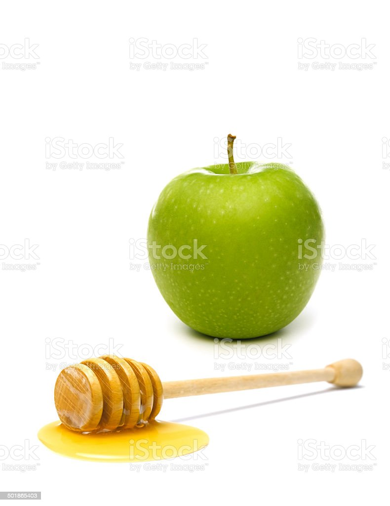 Apple with a Honey Dipper stock photo