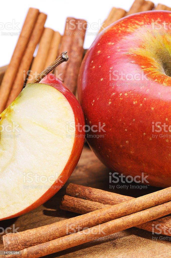 Apple with cinnamon royalty-free stock photo