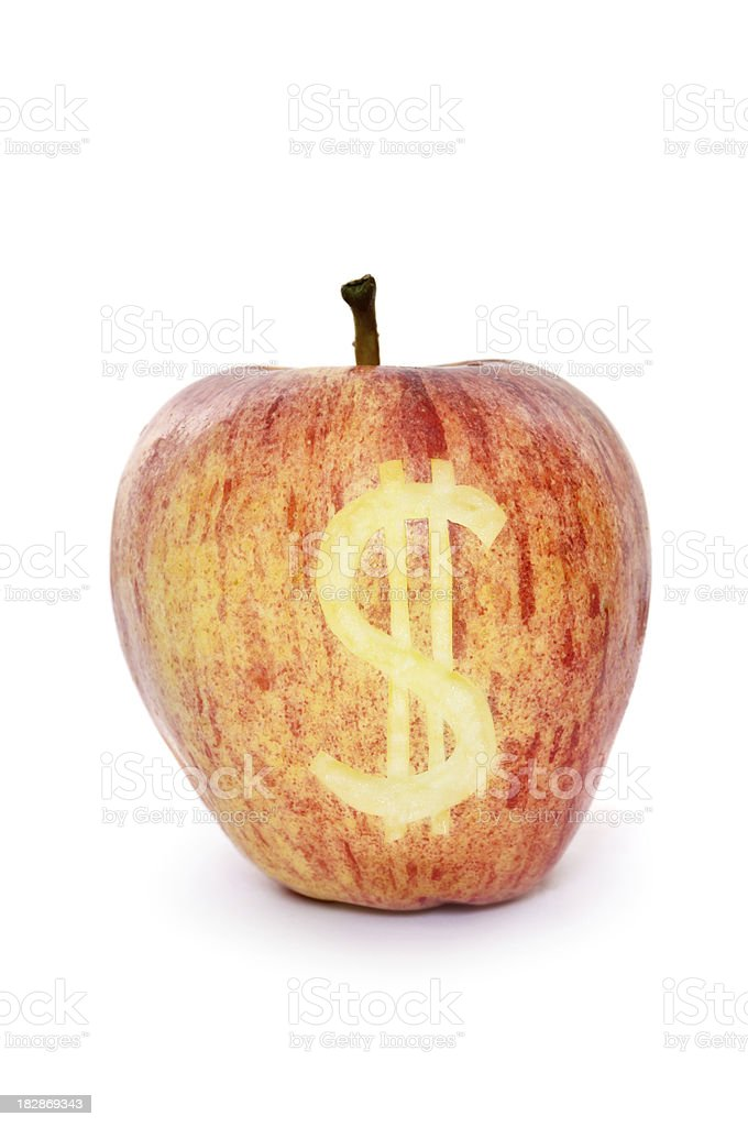 Apple with Dollar Sign stock photo
