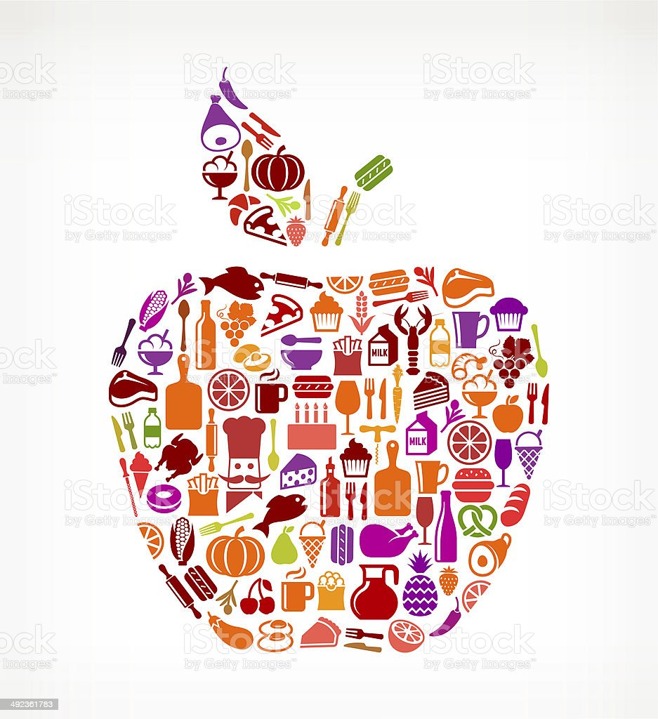 Apple with Food & Drink Icons stock photo
