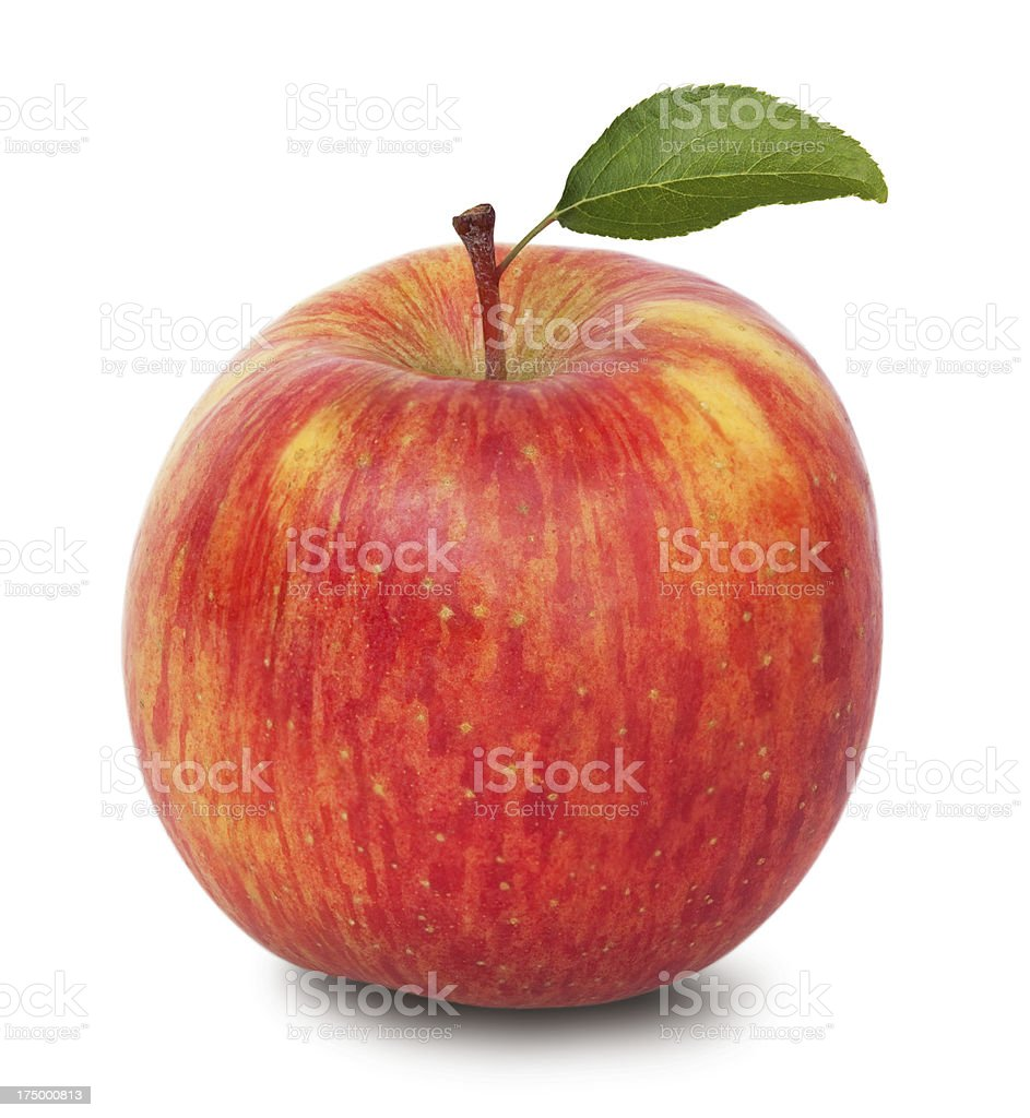 Apple with green leaf on white background stock photo