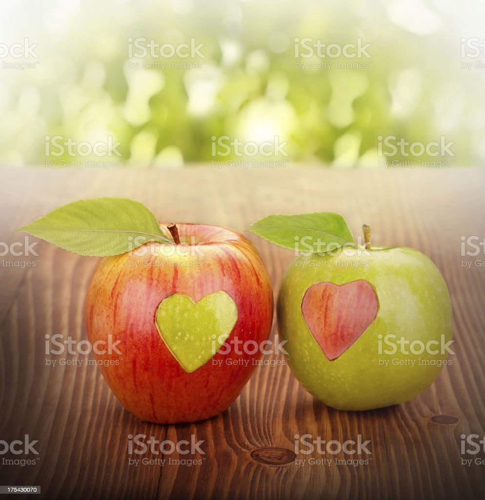 Apple with heart royalty-free stock photo