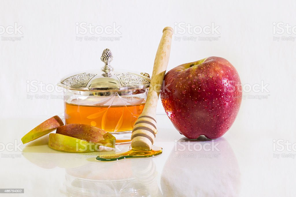 Apple with Honey White background stock photo