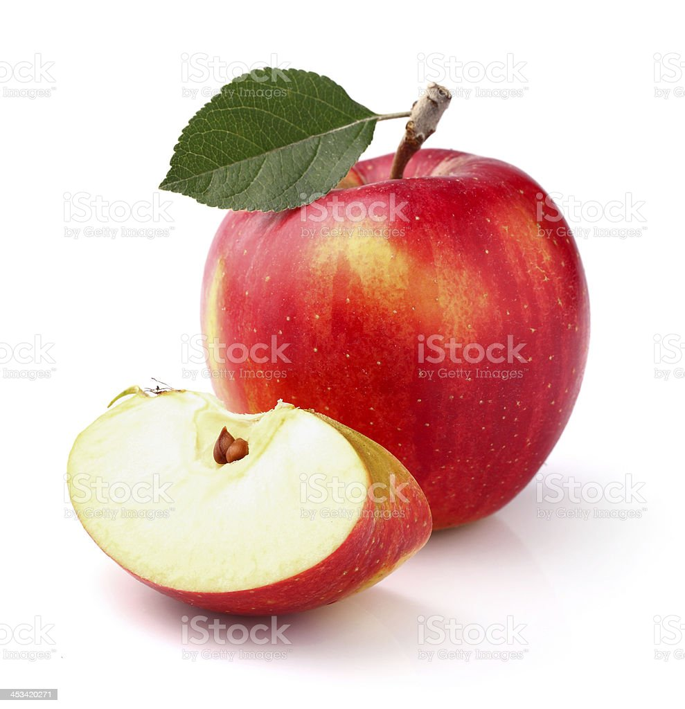 Apple with leaf stock photo