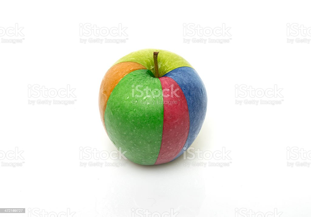 apple with multi-colored quarters royalty-free stock photo