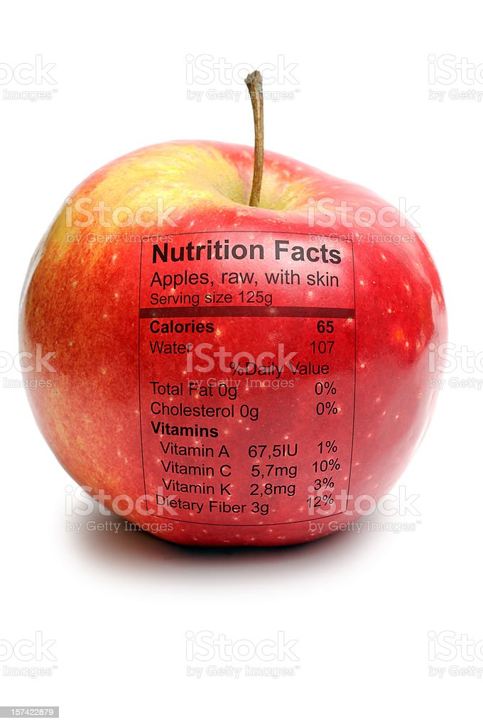 Apple with nutriton facts royalty-free stock photo