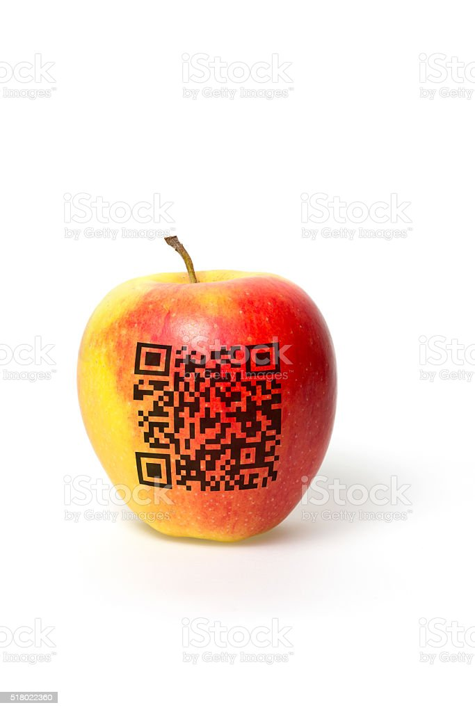 apple with qr code stock photo