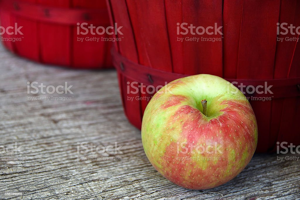apple with red basket stock photo
