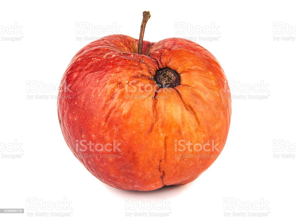 apple with rotten spot stock photo