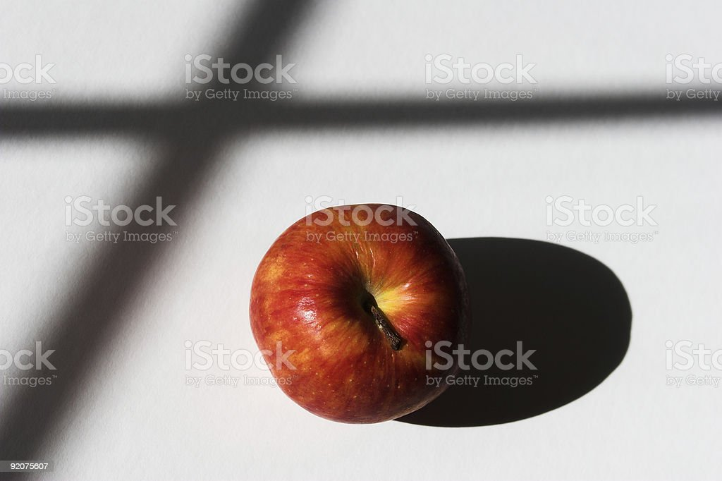 Apple with Shadows from Window Panes royalty-free stock photo