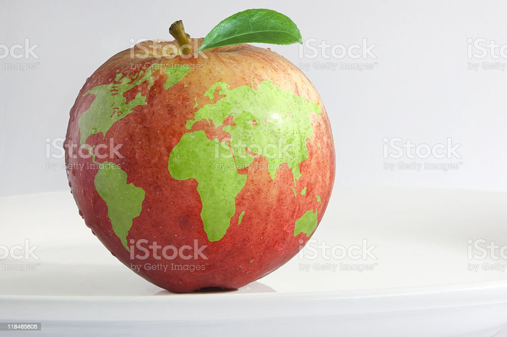 Apple with the world map on it stock photo