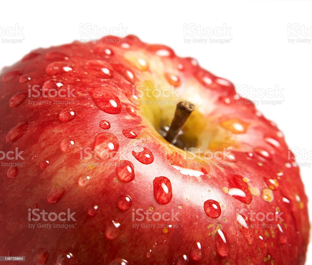 Apple with water drops royalty-free stock photo