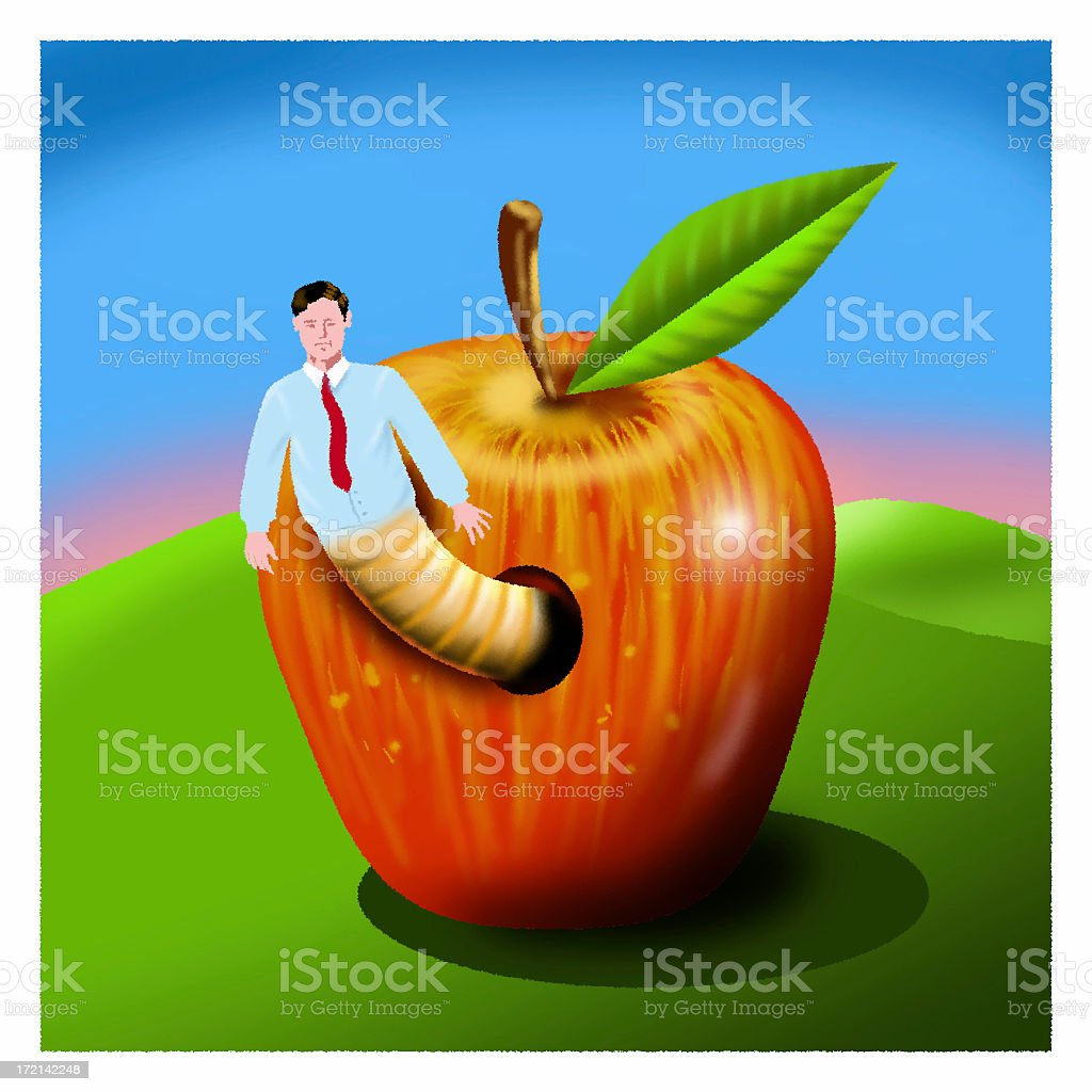 Apple with worm royalty-free stock photo