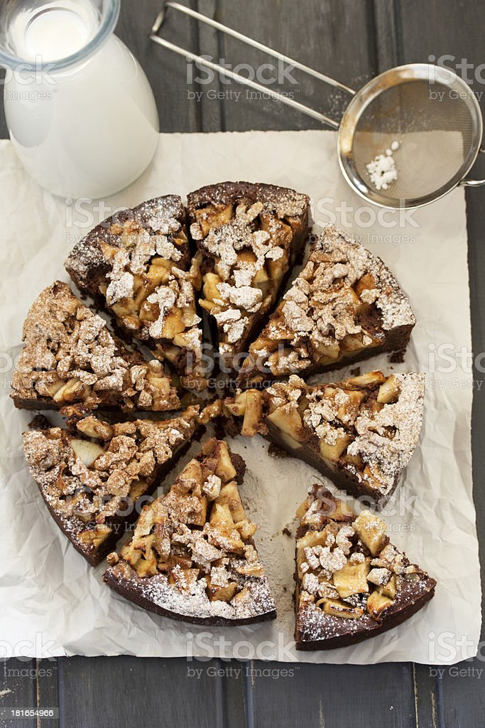 Apple-chocolate cake. royalty-free stock photo