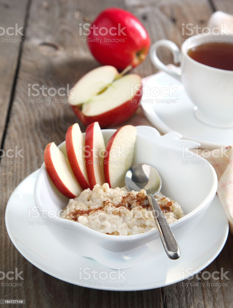 Apple-cinnamon oatmeal royalty-free stock photo