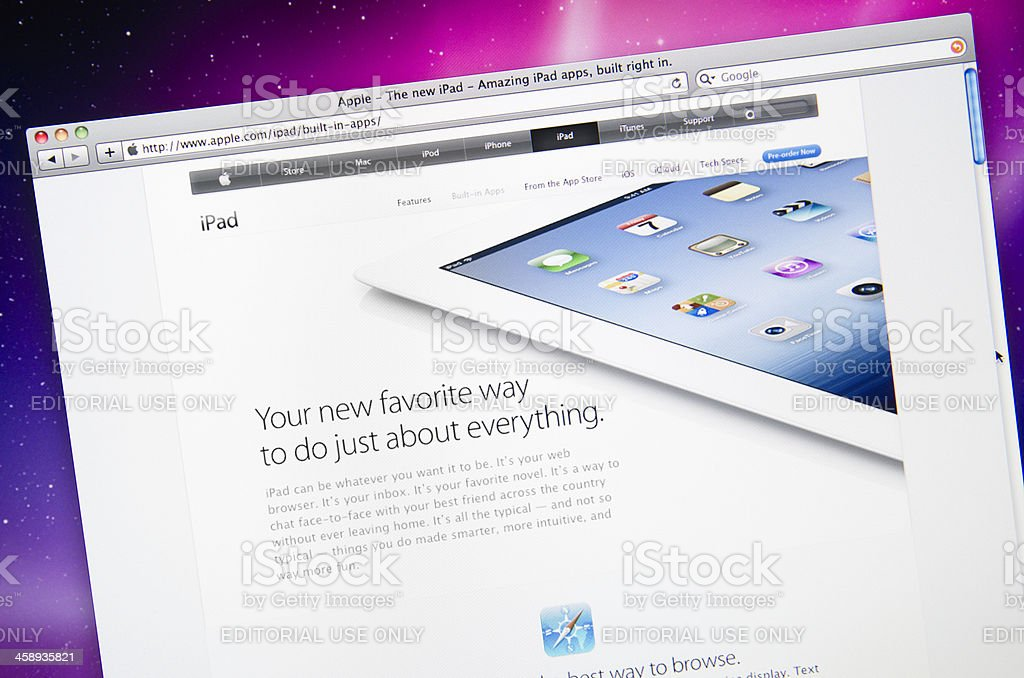 Apple.com features web page after the IPAD 3 release royalty-free stock photo