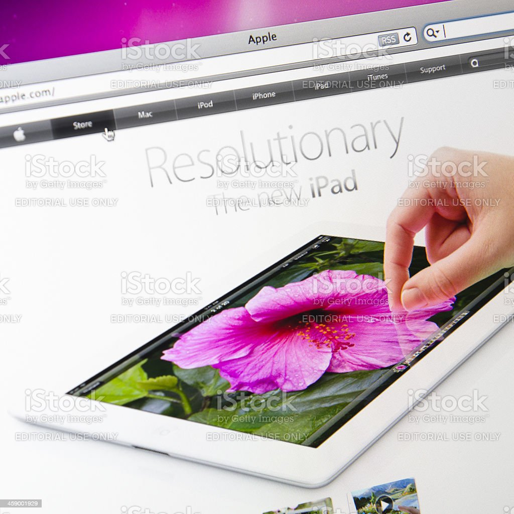 Apple.com main page after the IPAD 3 release royalty-free stock photo