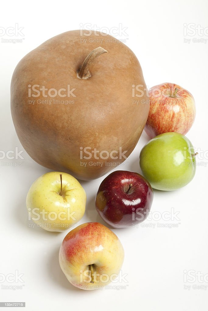 Apples and Apple Shaped Gourd stock photo