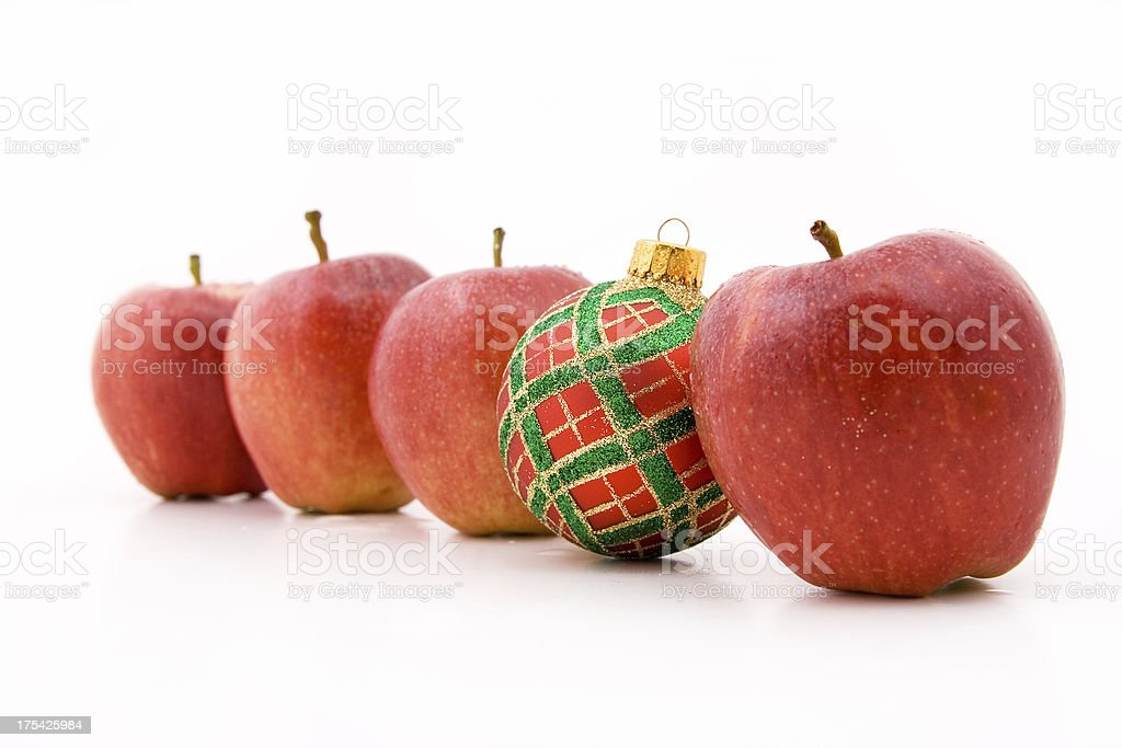 Apples and bauble stock photo