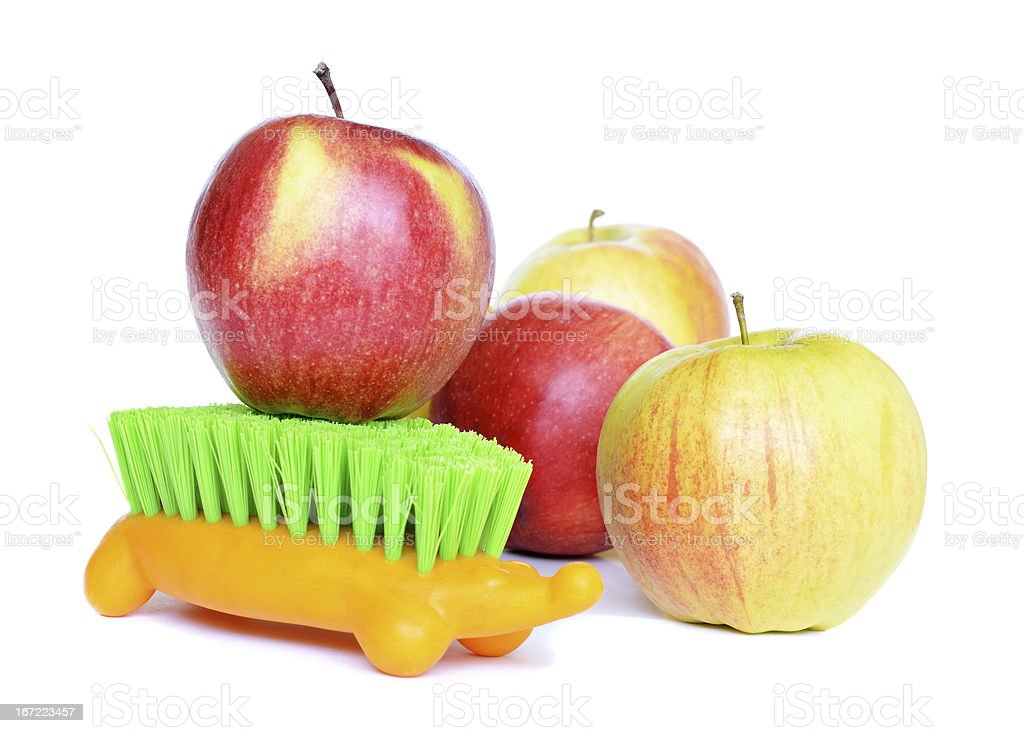 Apples and brush royalty-free stock photo